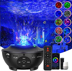 Star Projector,Smart Galaxy Projector Night Light Works with Alexa Google Assistant,Ocean Wave Projector with App Remote Control Bluetooth Speaker,Starry Sky Light for Home Theatre Kids Adults Room