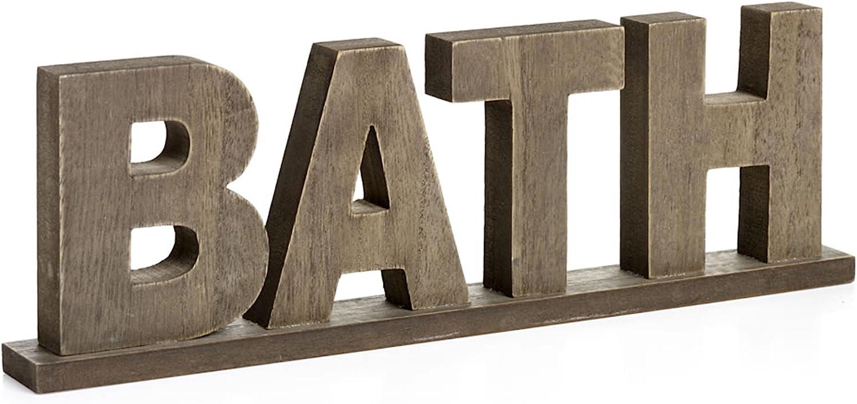 CVHOMEDECO. Rustic Vintage Wooden Words Sign Free Standing Bath, Bathroom/Home Wall/Door Decoration Art (Natural 1)