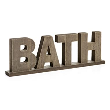 CVHOMEDECO. Rustic Vintage Wooden Words Sign Free Standing Bath, Bathroom/Home Wall/Door Decoration Art (Natural)