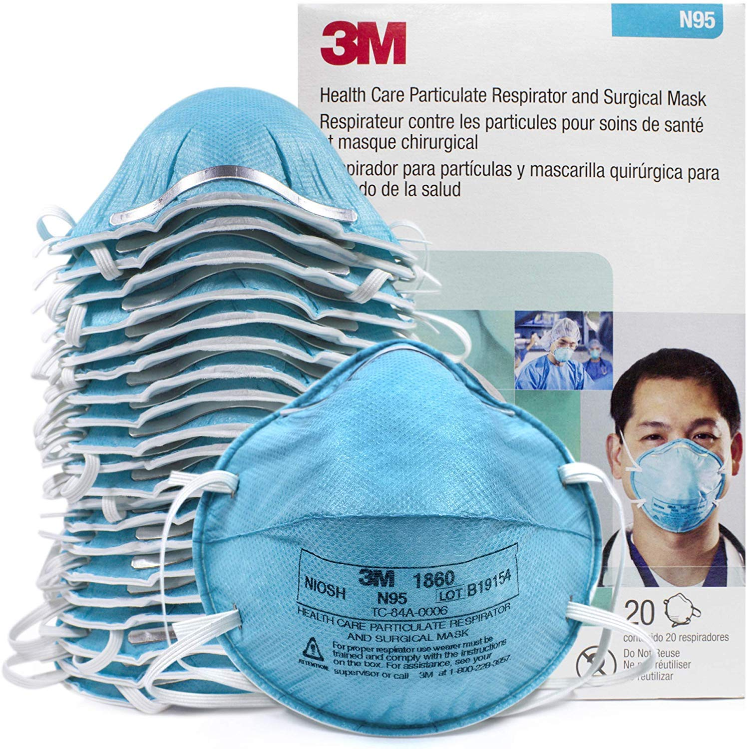 3m health care particulate respirator and surgical mask 1860s small