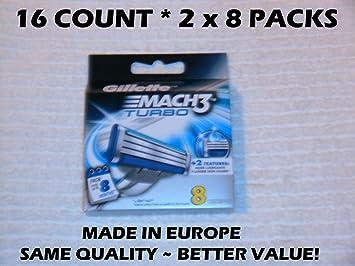 Amazon.com : Gillette MACH 3 Turbo Refill Cartridges - 8 ct - 2 pk : Beauty