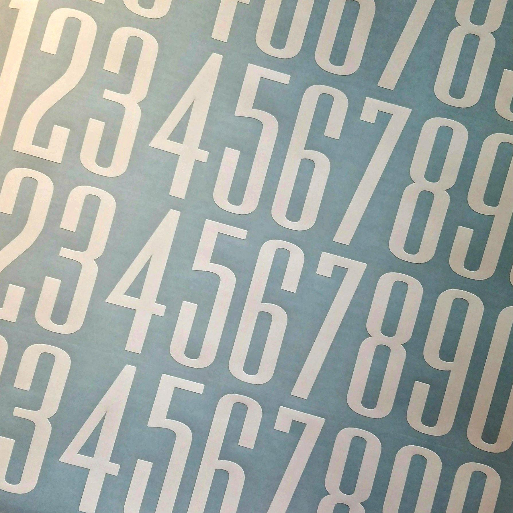 Ultramodern Style Die Cut Vinyl Numbers (4 inch 2 pack, White)