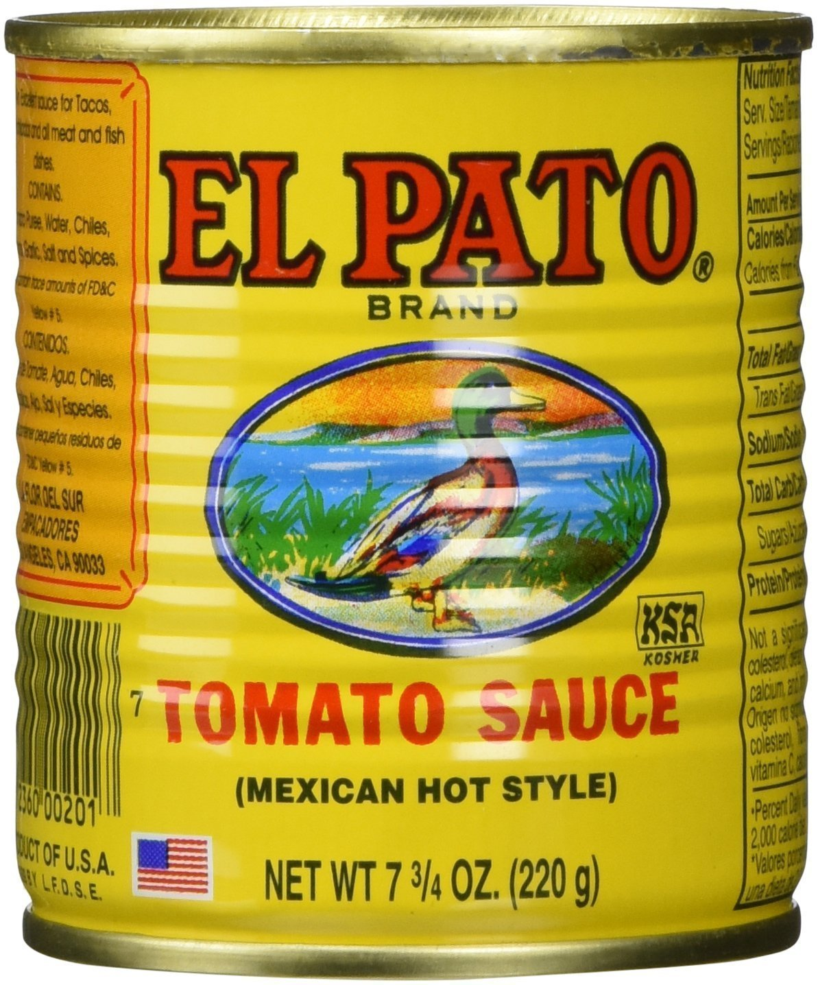 EL PATO Mexican Hot Style Tomato Sauce 7.75 Oz - (24-Pack) by El Pato