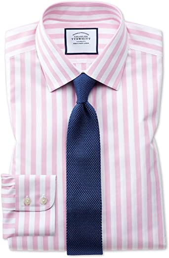 Camisa sin Plancha Rosa de Corte clásico a Rayas Bengala ...