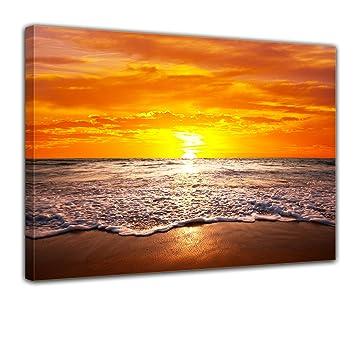 Leinwandbild Kunst-Druck 120x60 Bilder Landschaften Sonnenuntergang Meer