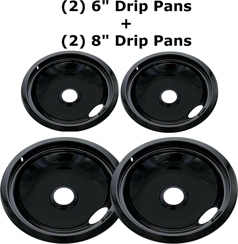Kitchen Basics 101 Porcelain Drip Pan Set Replacement for Frigidaire Kenmore 5304430150, 318067051, 318067051