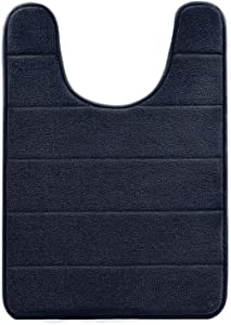 "BETUS U-Shaped Contour Memory Foam Toilet Mat - Non-Slip Backing, Water Absorbent, Machine Washable, Super Cozy - Luxurious Velvet Comfort Washroom Rug - 16""x24"" (Black)"