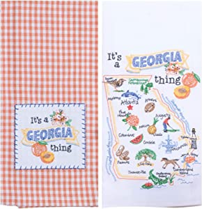 Kay Dee Designs Georgia Map Home State & Souvenir Embroidered Dish Towels, Bundle Set of 2 State of Georgia Kitchen Towels