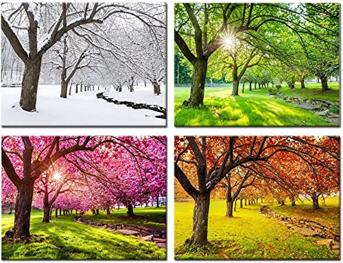 Kreative Arts 4 Piece Canvas Wall Art Spring Summer Autumn Winter Four Seasons Landscape Colorful Tree Painting Picture Prints Modern Giclee Artwork Stretched Framed Bathroom 16x20inchx4pc