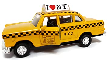 I Love New York  Diecast Metal Yellow Taxi with Pullback Motor Action