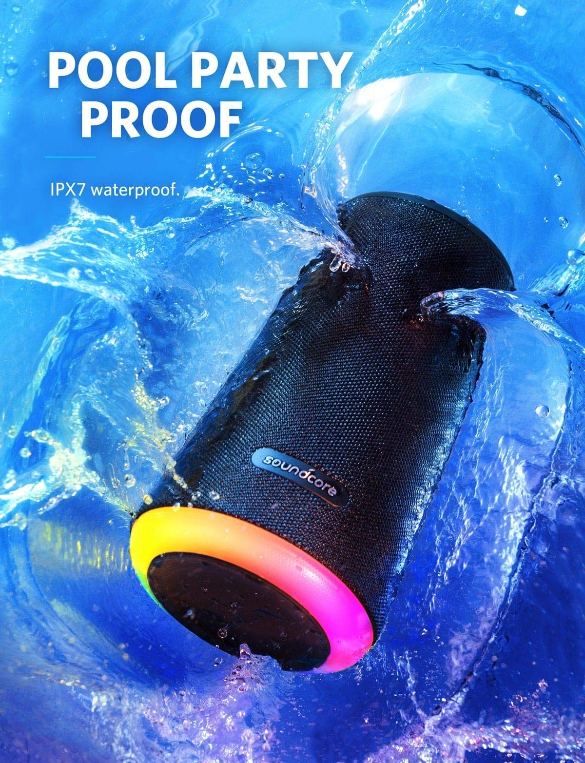 2-Pack] Soundcore Flare Portable Bluetooth 360° Speaker by Anker, with All-Round Sound, Wireless Stereo Pairing, Enhanced Bass & Ambient LED Light, and IPX7 Waterproof Rating - Black- Buy Online in Bahrain at