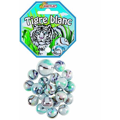 Kim'Play - 500827 - Jeu de Plein Air - 20 Billes  +  1 Calots -  Tigre Blanc
