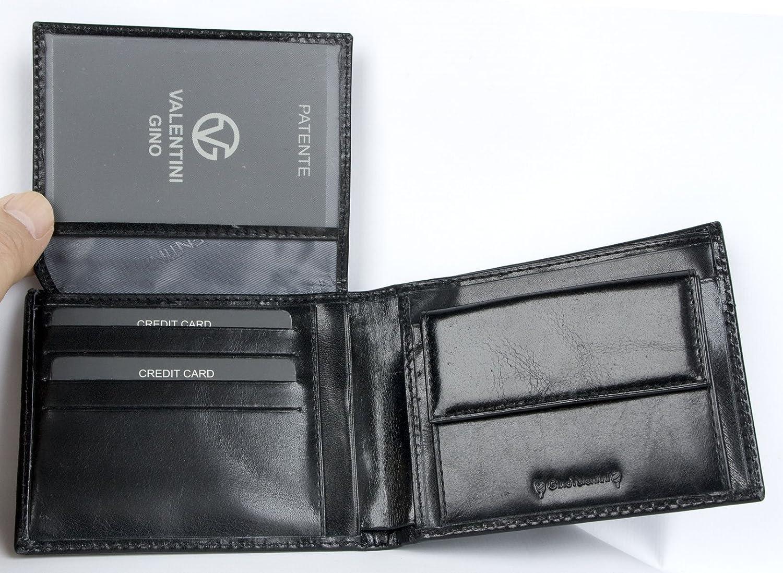 0236ef6b20 Portafoglio Valentini Gino nero realizzato in lucida pelle resistente:  Amazon.it: Valigeria