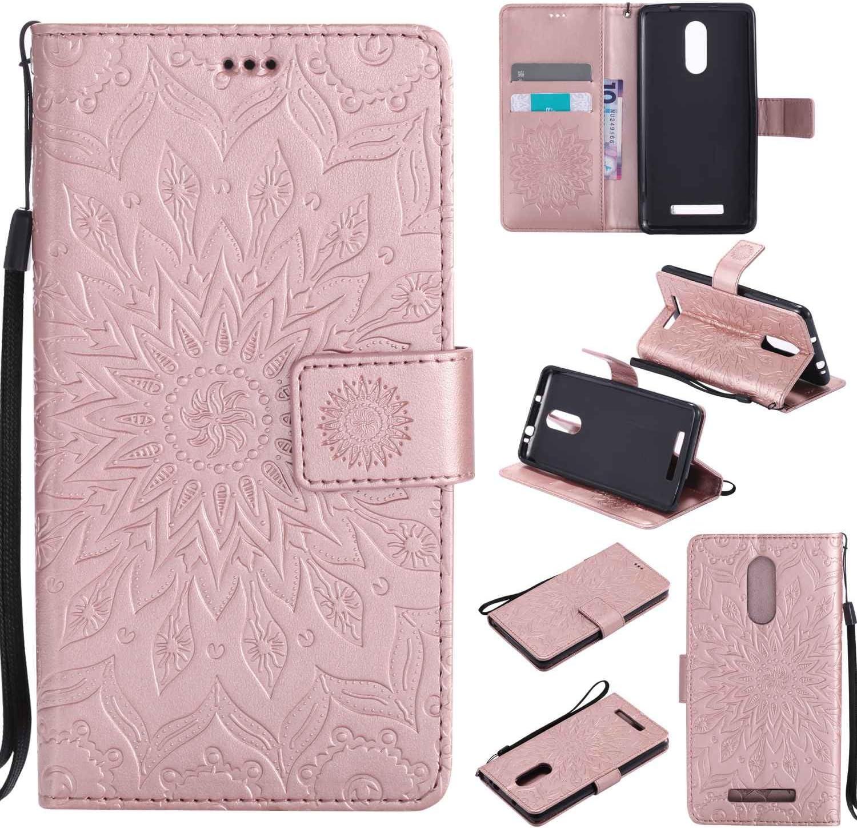 pinlu® Flip Funda de Cuero para Xiaomi Redmi Note 3 / Note 3 Pro Carcasa con Función de Stent y Ranuras con Patrón de Girasol Cover (Oro Rosa): Amazon.es: Electrónica