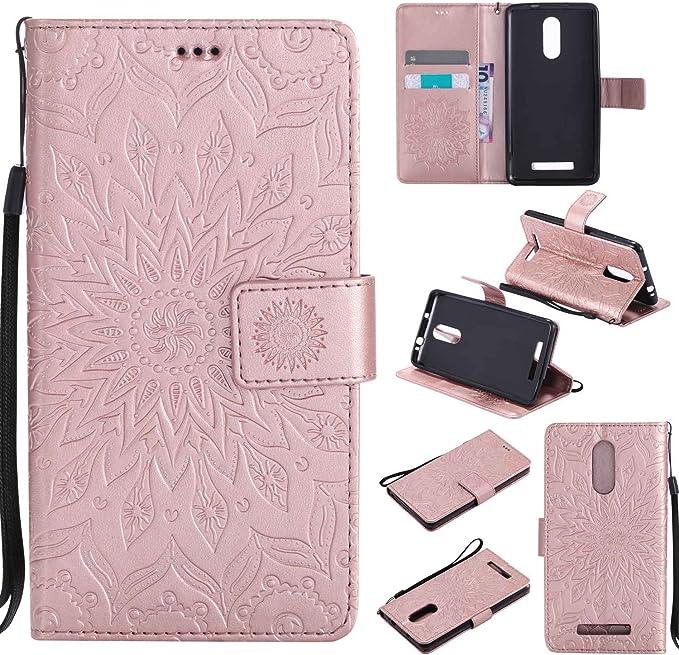 Guran® Funda de Cuero Para Xiaomi Redmi Note 3 / Note 3 Pro Smartphone Función de Soporte con Ranura para Tarjetas Flip Case Cover-oro rosa: Amazon.es: Electrónica