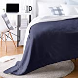 AmazonBasics Ultra-Soft Micromink Sherpa College Dorm Blanket - Throw, Navy
