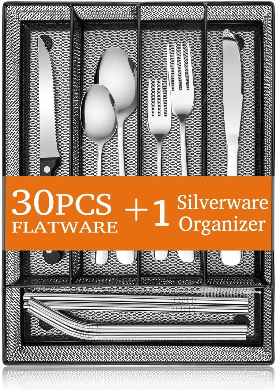 31-Piece Silverware Set, E-far Stainless Steel Flatware Cutlery Set Service for 4 with Mesh Utensil Drawer Organizer, Include Forks/Spoons/Knives/Steak Knives/Straws, Mirror Polish & Dishwasher Safe
