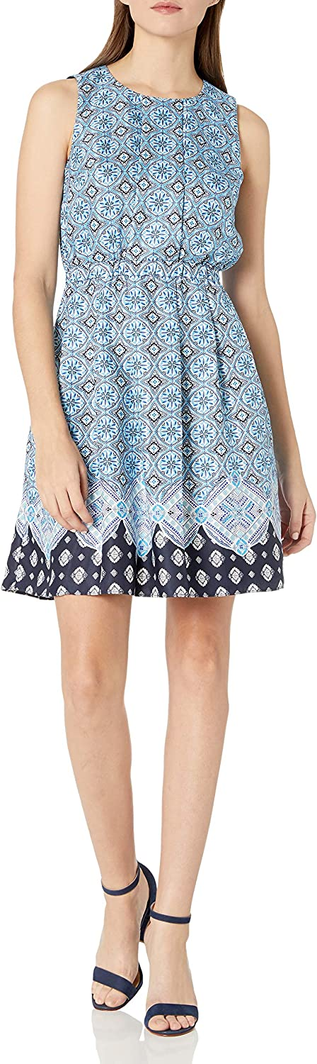 Donna Morgan Women's Poly Our shop most popular Twill Regular store Pleated Dres Flare Waist Elastic