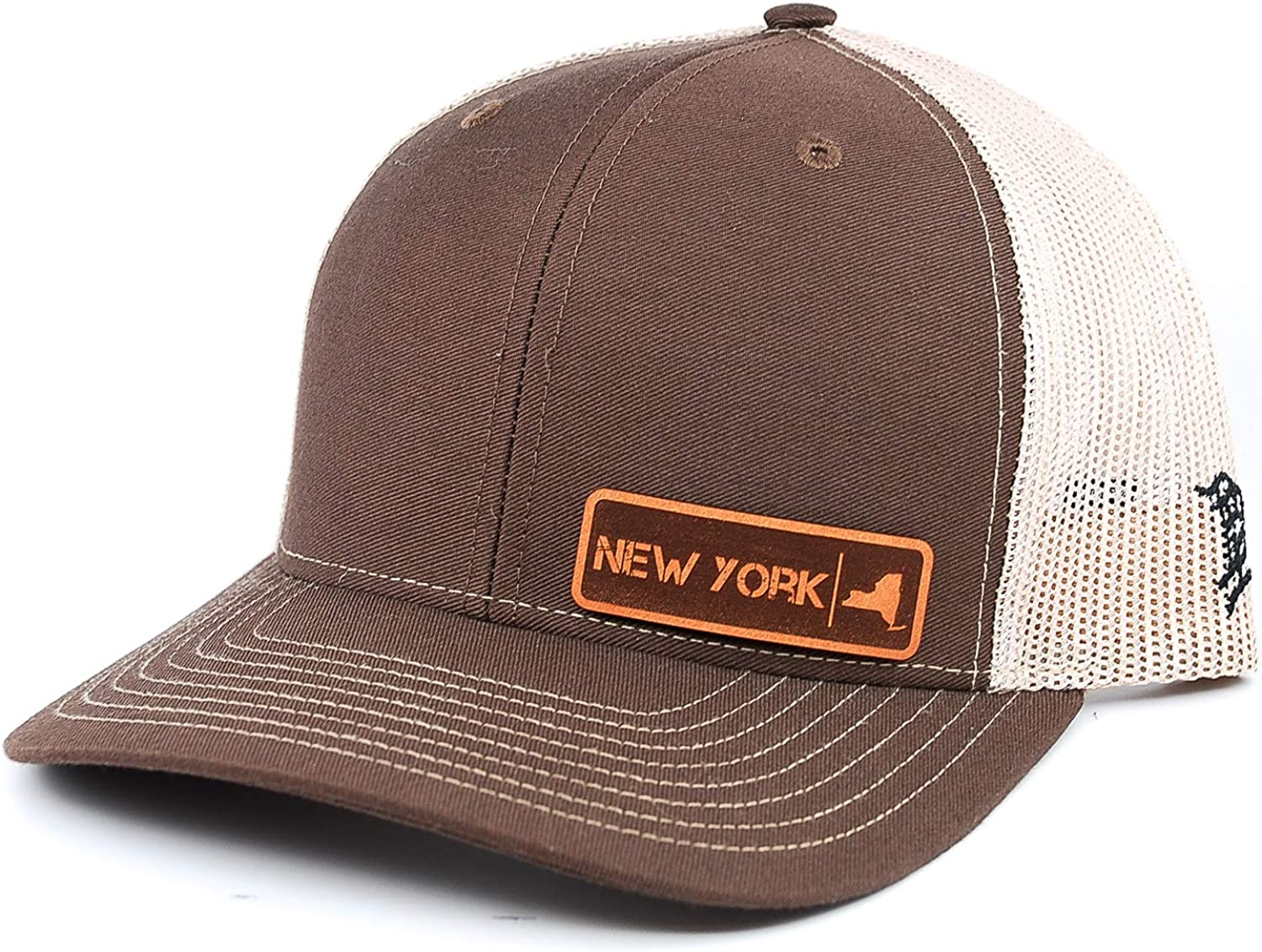OSFA//Brown//Tan Branded Bills /'New York Native Leather Patch Hat Curved Trucker