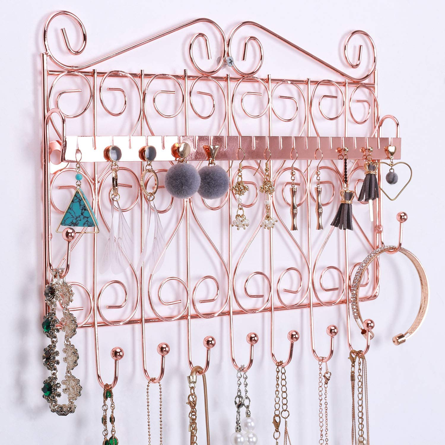 Rumcent Hanging Jewelry Organizer Rack Wall Mounted Jewelry Holder For Earring Necklace Bracelet Decorative Jewelry Hanger Display Rack Rose Gold Hanging Jewelry Organizers Home