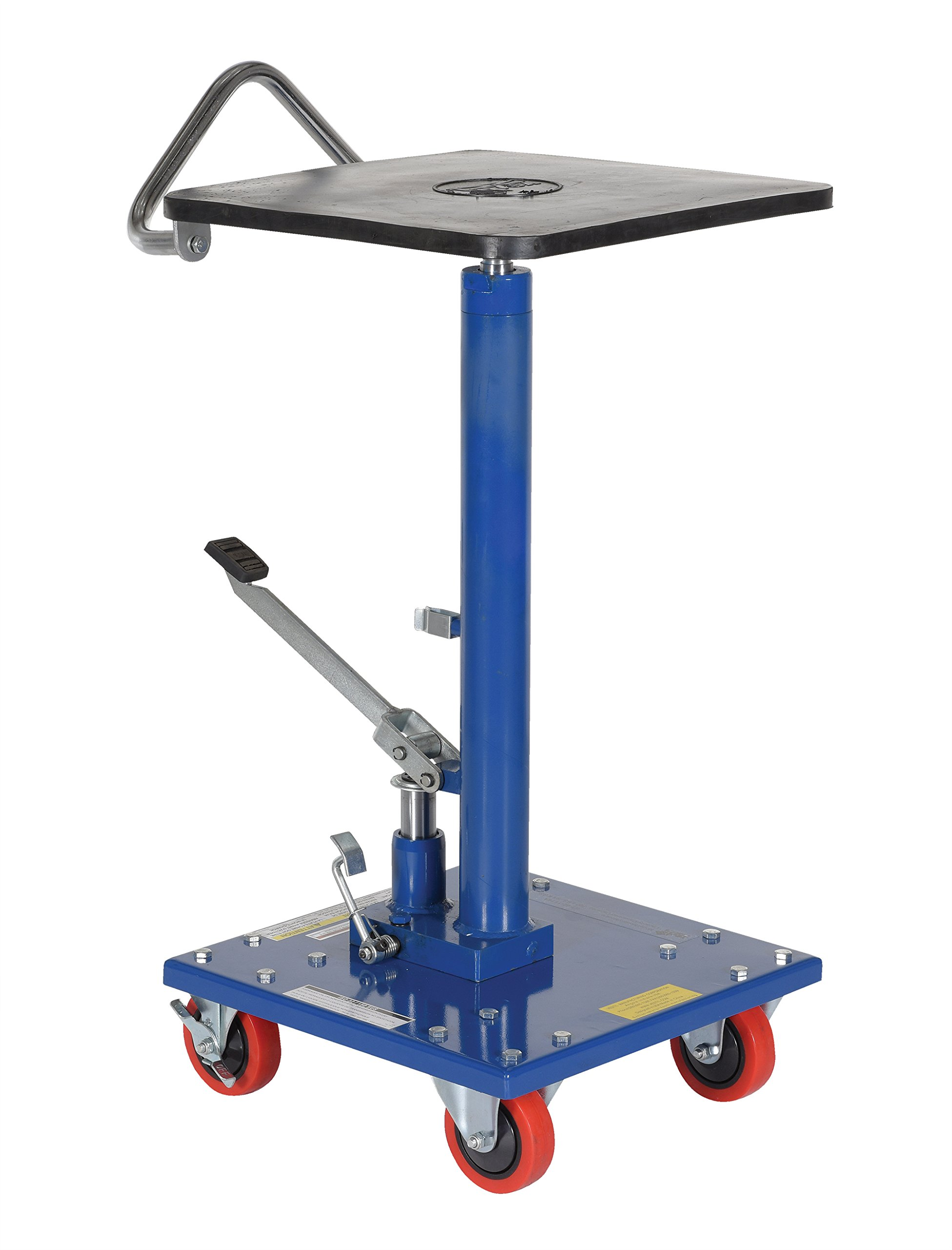 Vestil HT-02-1616A Steel Hydraulic Post Table with Powder Coat Finish, 200 lb. Capacity, 16'' x 16'' Platform, 31'' to 49'' Height Range