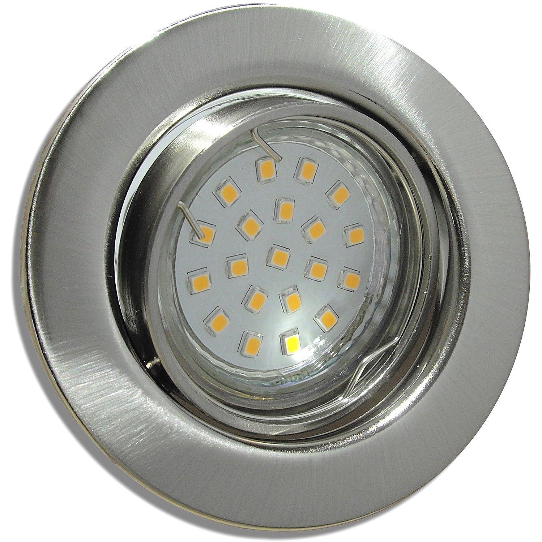 7 Stück SMD LED Einbaustrahler Milena 230 Volt 5 Watt Schwenkbar Edelstahl geb.   Neutralweiß