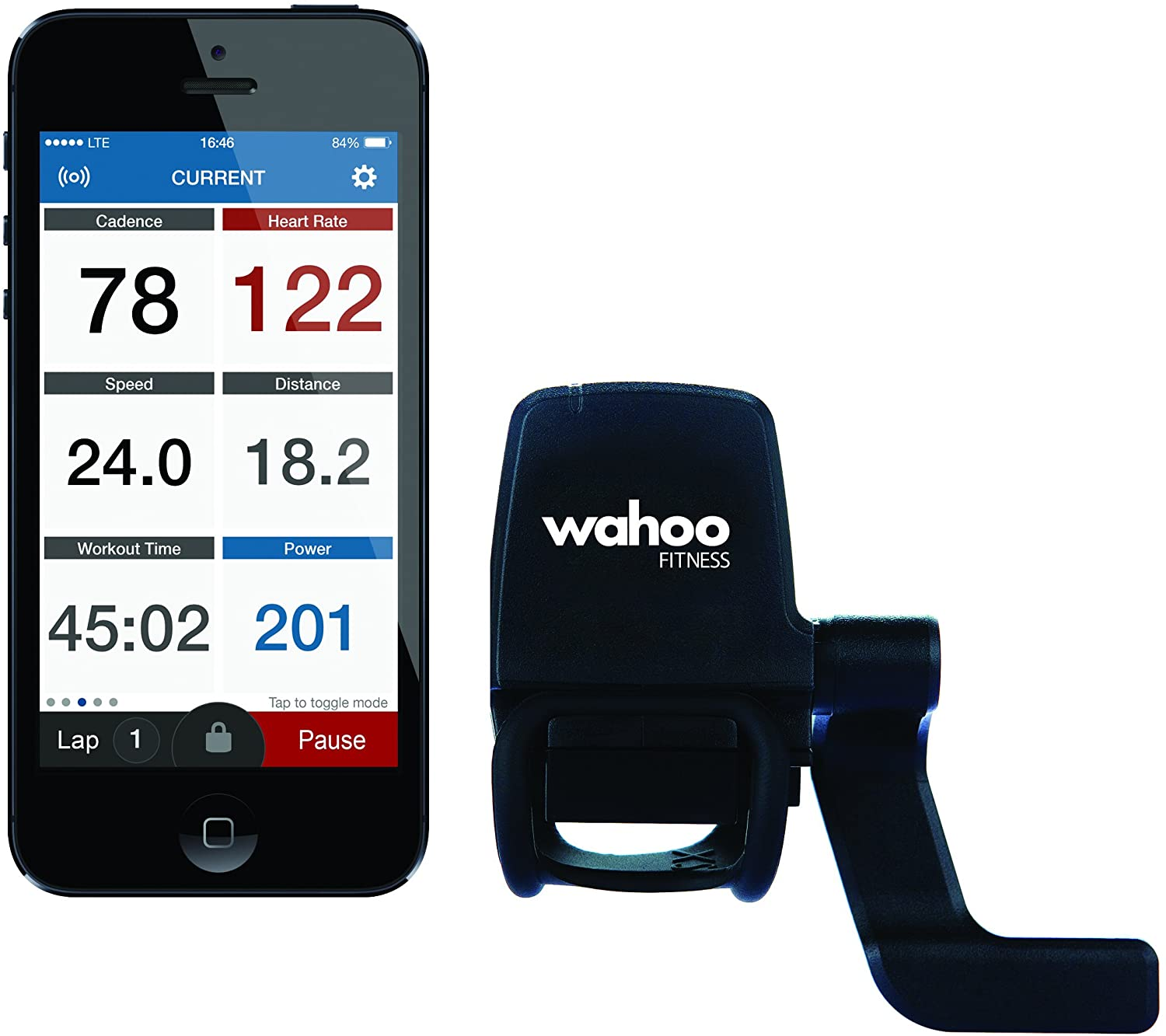 Wahoo Blue SC Speed and Cadence Sensor for iPhone Android and Bike Computers