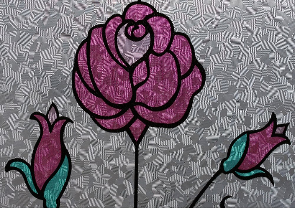 Hosho花柄ステンドグラス装飾非粘着プライバシーウィンドウフィルム3 ft x 32 FT B00C1Y4QL2