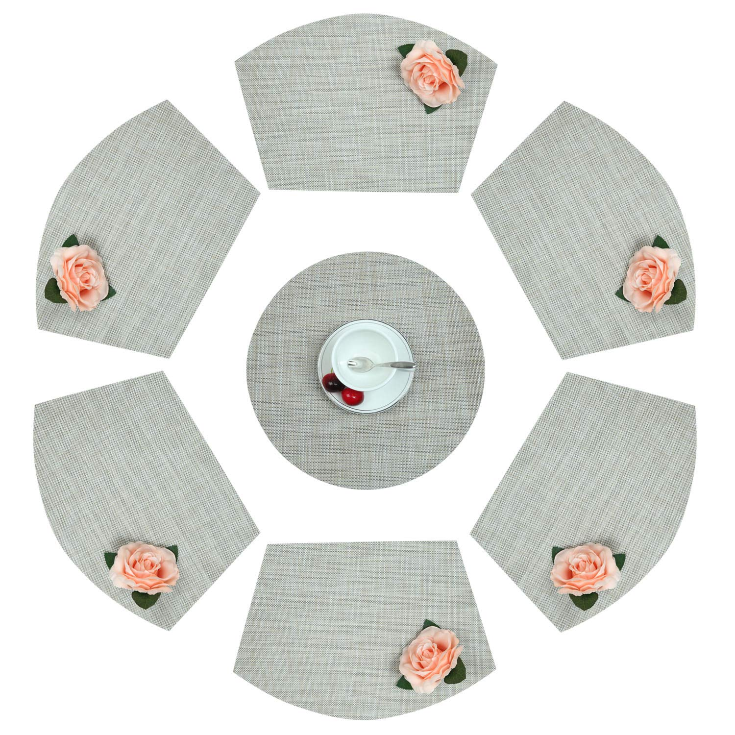 Homcomoda Round Table Place Mats PVC Wedge Shaped Placemat Set of 6 for Dining Table Plus Center Round Place Mat Heat Insulation Stain-Resistant Washable Placemats for Round Table (Set of 7, Linen)