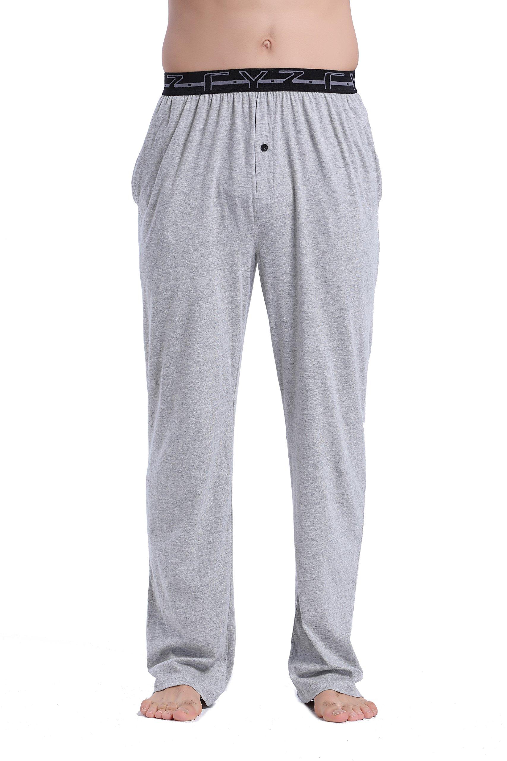 CYZ Men's 100% Cotton Jersey Knit Pajama Pants with Elastic Waistband-Greymelange-XL