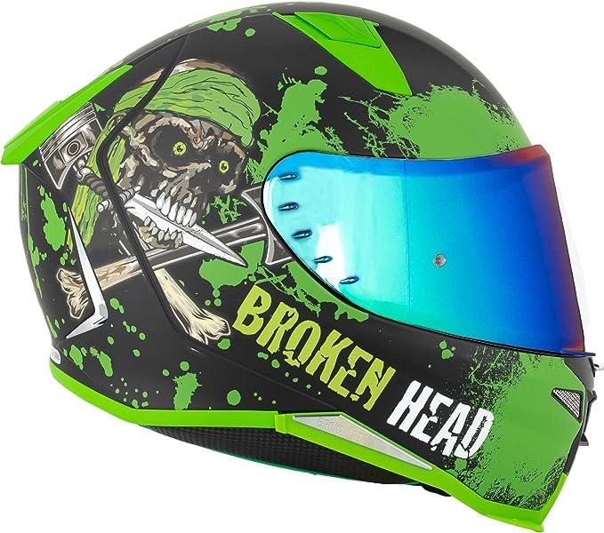 Broken Head Jack S V2 Pro Integral Helm Grün Sport Motorrad Helm Incl Gratis Grün Verspiegeltem Visier Auto