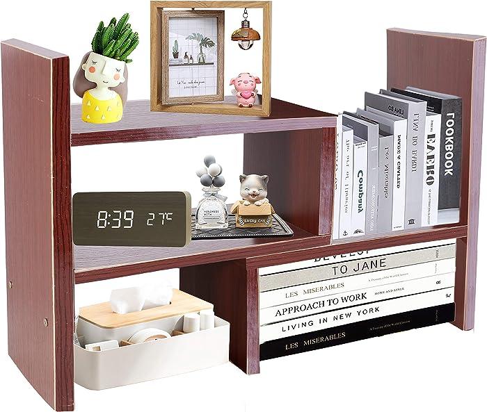 PENGKE Office Storage Rack Desktop Organizer,Home Decor Adjustable Wood Display Shelf,Birthday Gifts,True Natural Stand Shelf,Brown