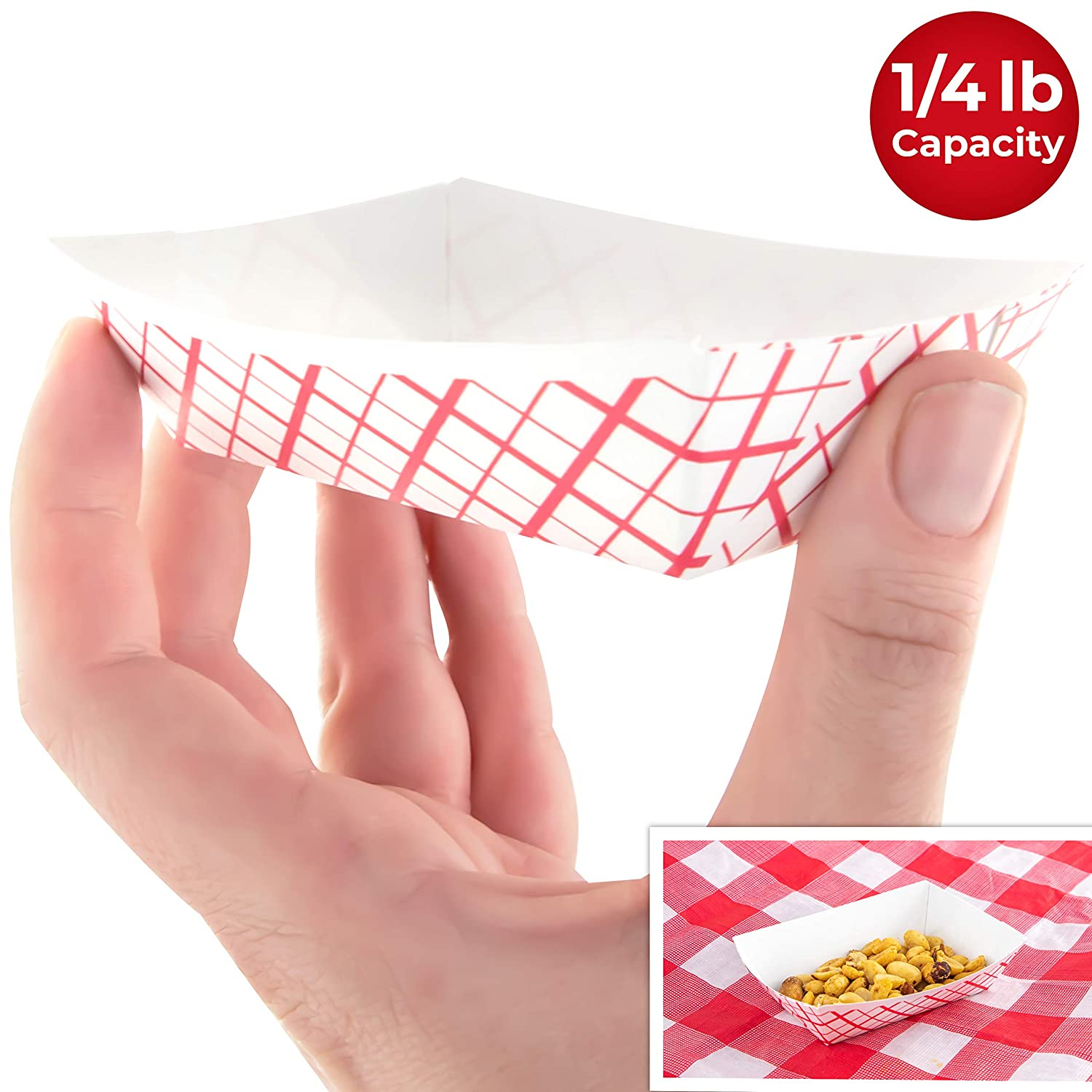 Heavy Duty, Grease Resistant Mini Paper Food Trays 200 Pack. Recyclable, Coated Paperboard Basket Ideal for Festival, Carnival and Concession Stand Condiments and Small Snacks