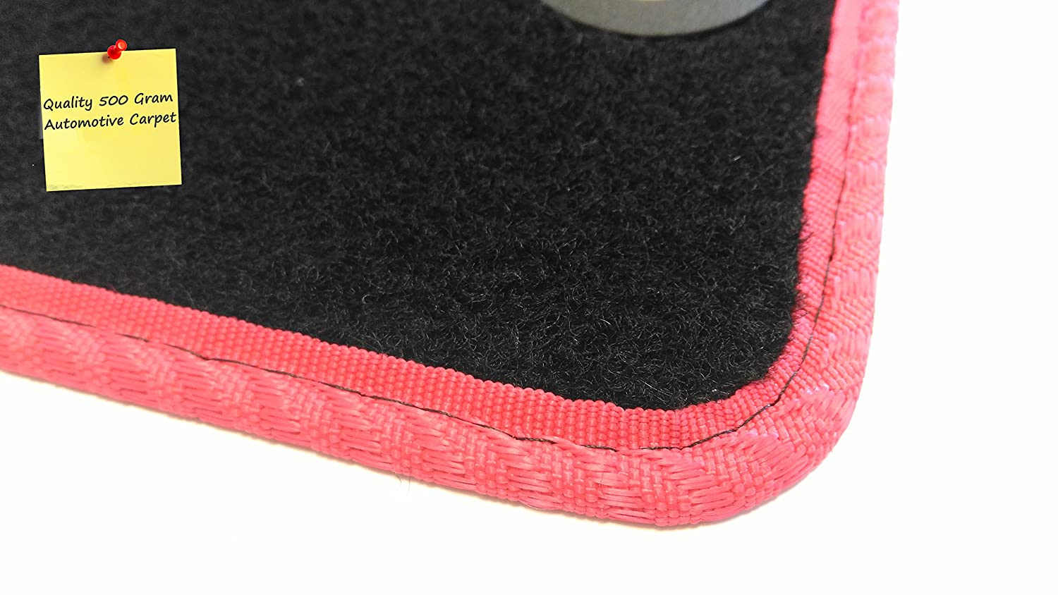Connected Essentials 5106145 Car Mat Set Deluxe Black with Red Trim