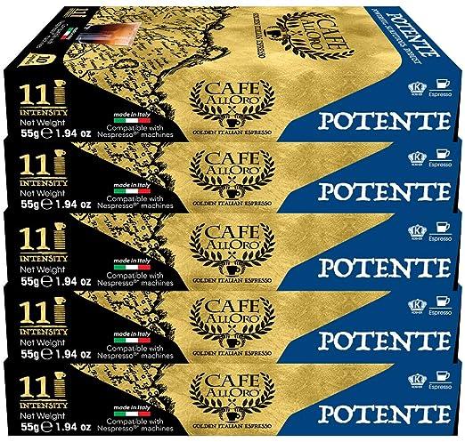 Nespresso Compatible Powerful Dark Roast Italian Coffee, Café AllOro Potente (Intensity 11), 50 Count, for OriginalLine Brewers