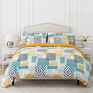 Dreamcountry 100% Cotton Duvet Cover Set 3 Pieces (2 Pillowcase,1 Duvet Cover) Luxury Soft Bedding Set with Zipper & 4 Closure Corner Ties, Cozy Cotton Duvet Cover Set