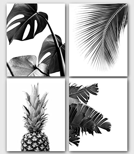 Tropical prints set of 4 black and white prints monstera banana pineapple