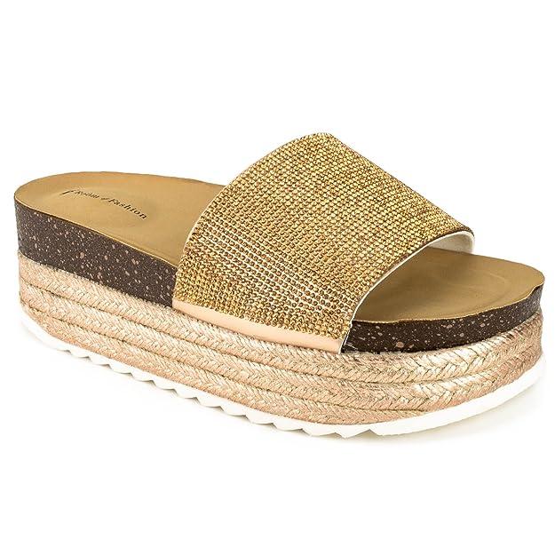 RF ROOM OF FASHION Women's Open Toe Espadrille Lug Sole Summer Slip on Platform Footbed Slides Sandals - ZO11 Rosegold (10)