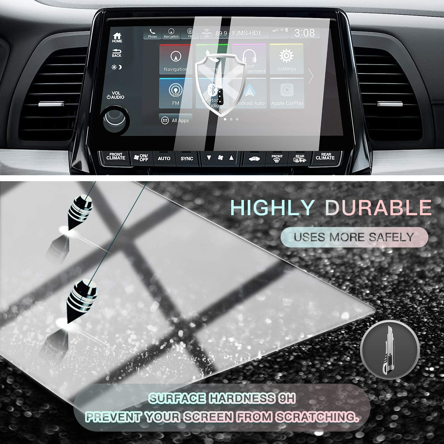 CDEFG Car Center Control Touch Screen Navigation Screen Protector for 2018 2019 Odyssey EX EX-L Touring 8-Inch Clear HD Anti-Explosion Touchscreen with Silk-Screen Printing Tech