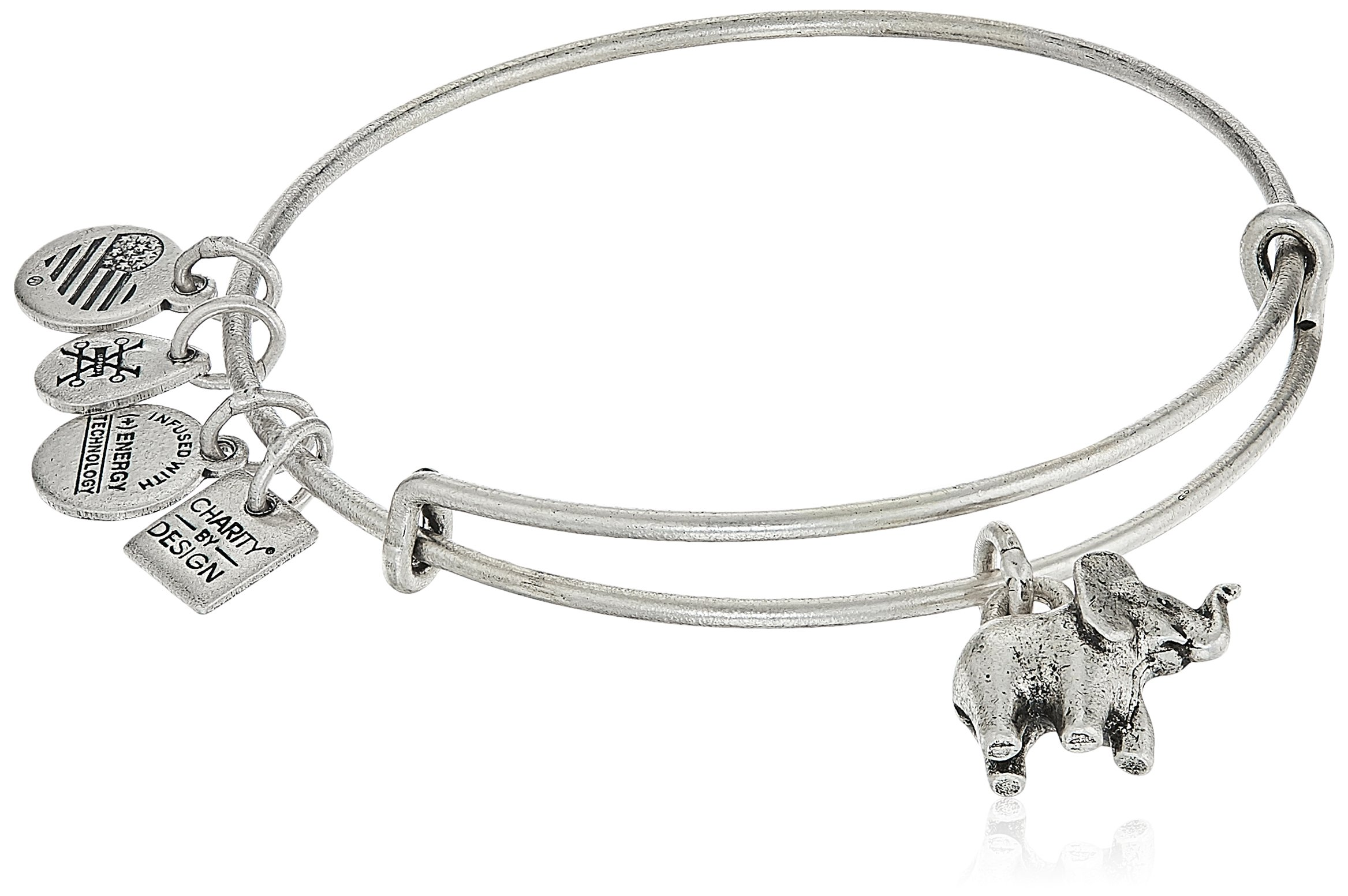 Alex and Ani Charity By Design, Elephant II Rafaelian Silver Bangle Bracelet