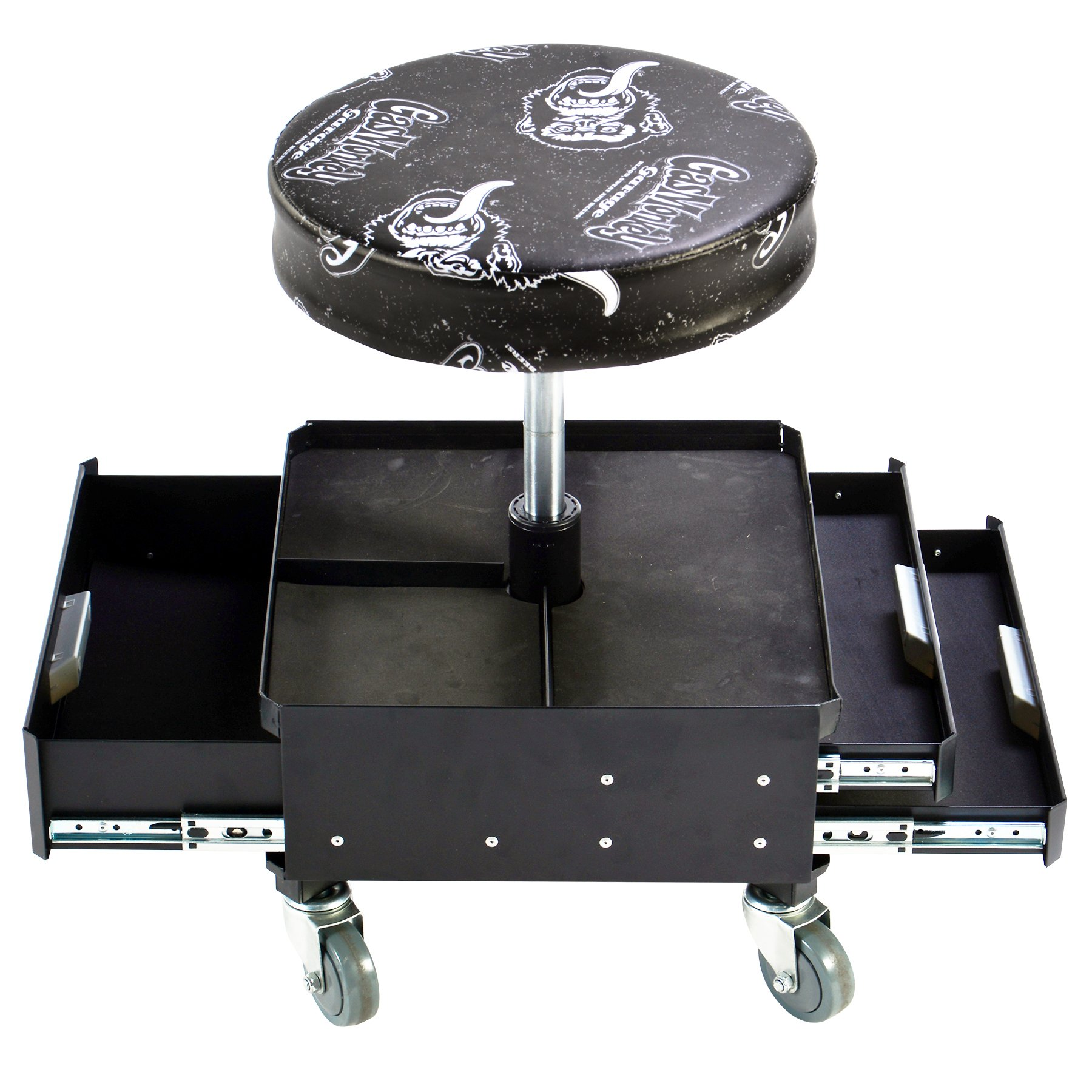 Gas Monkey Pneumatic Garage Seat with Toolbox - 3-Drawers and Convenient Tool Tray - 4 Rolling Casters with 300 Lbs Capacity