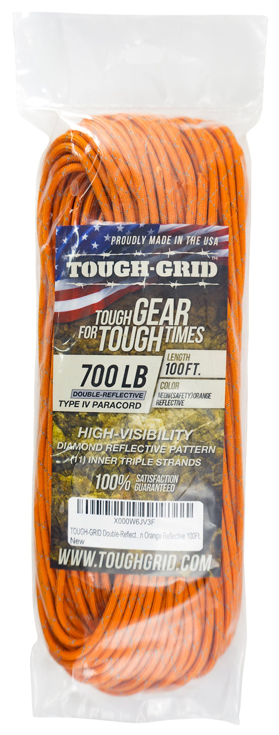 TOUGH-GRID New 700lb Double-Reflective Paracord/Parachute Cord - 2 Vibrant Retro-Reflective Strands for The Ultimate High-Visibility Cord - 100% Nylon - Made in USA - 100Ft. Neon Orange Reflective by TOUGH-GRID (Image #4)