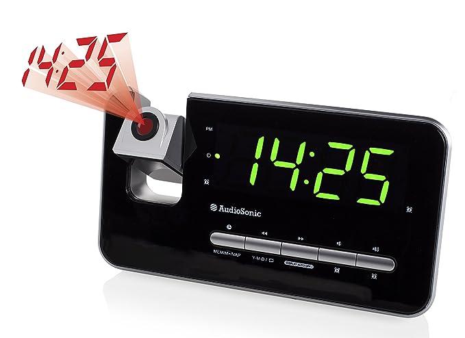 Audiosonic CL-1492 – Reloj despertador con dos alarmas, radio FM, proyector