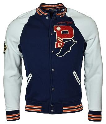 9bcbdc53842 Polo Ralph Lauren Men s Bulldog Varsity Letterman Fleece Baseball Jacket -  M - Navy White