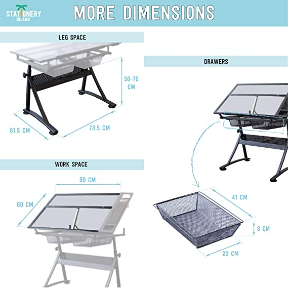 Stationery Island réglable verre table à dessin avec tabouret table de bricoleur foula TP2