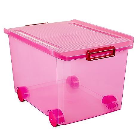 Tatay Caja de Almacenamiento con Ruedas, 60 L de Capacidad, 37,7 x 47,5 x 26, Color Gris Translúcida, PP Libre de Bpa: Amazon.es: Hogar