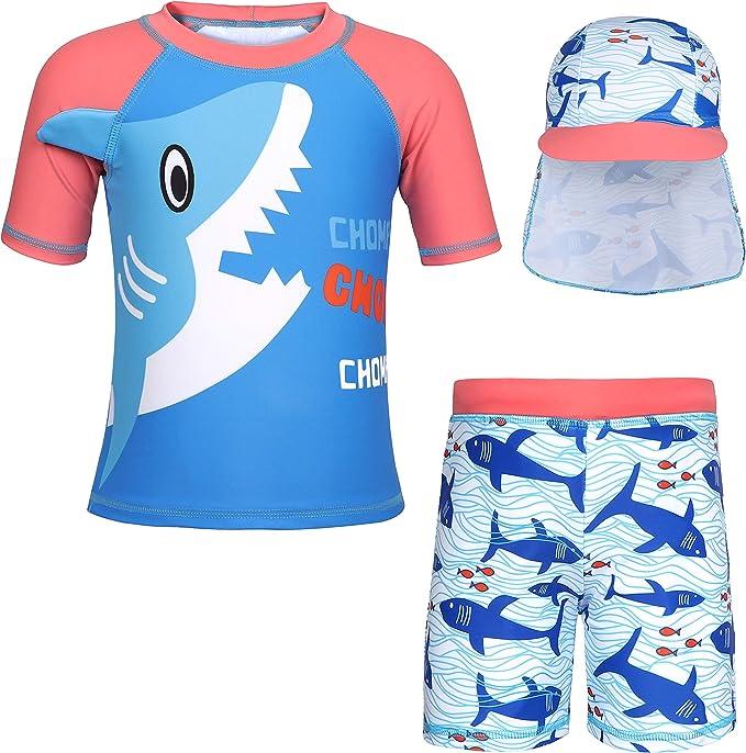 Toddler Kids Child Sun Protective Swimwear Swimsuit Swim Cap Rash Guard Costume