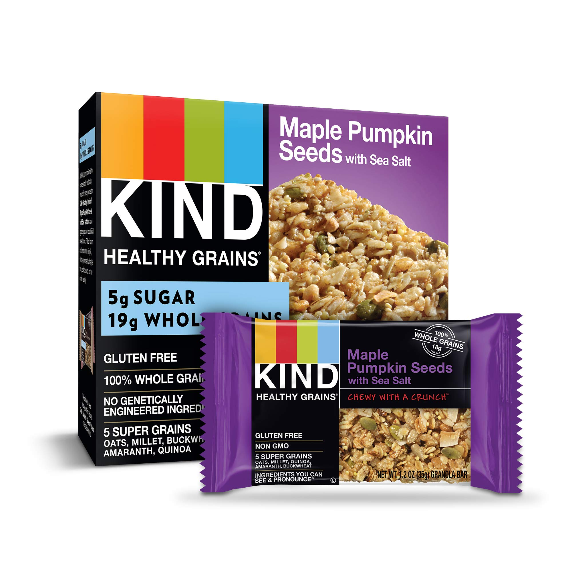 KIND Healthy Grains Granola Bars, Maple Pumpkin Seeds with Sea Salt, Gluten Free, 1.2 Ounce (Pack of 40) by KIND