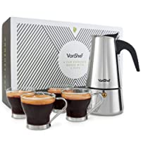 VonShef 6 Cup Polished Stainless Steel Espresso Maker with 4 cups