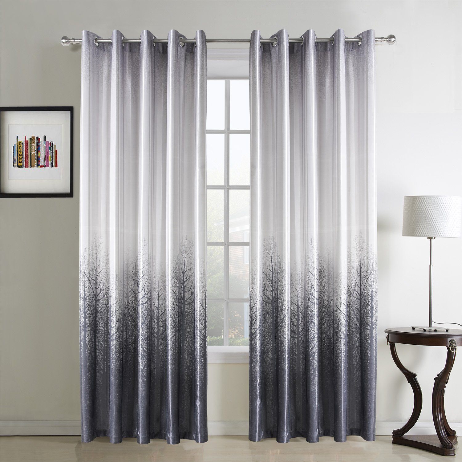 GWELL Tree Print Thermal Supersoft Eyelet Ring Top Curtains For Living Room Bedroom White Grey